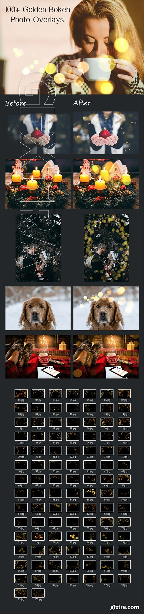 100 Golden Bokeh Photo Overlays