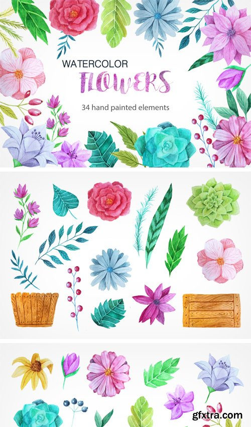 Designbundles - Watercolor Flower Pack 13963