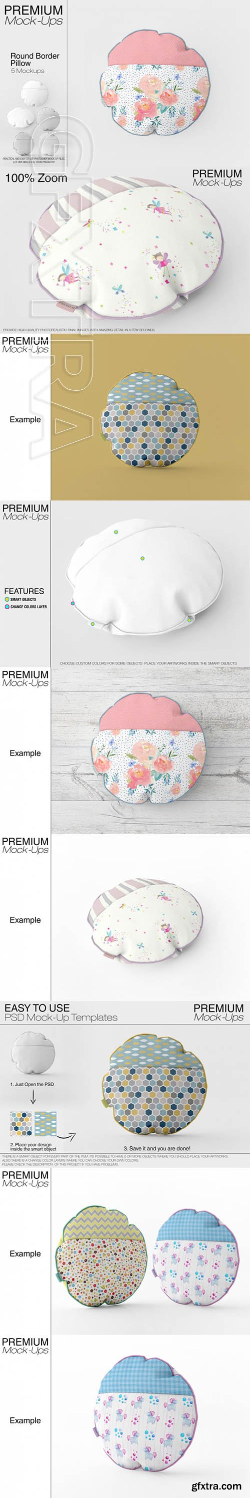 Round Borderd Pillow Mockup Pack