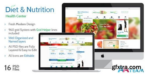 ThemeForest - Diet & Nutrition Health Center – PSD Template - 5433614
