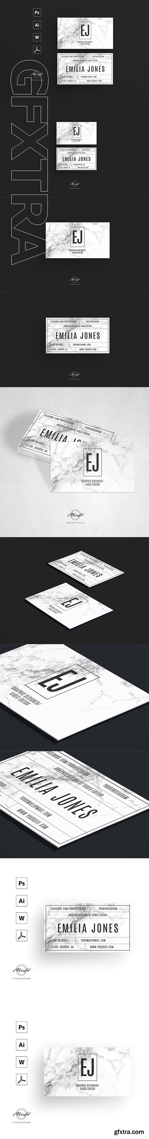 CreativeMarket - White marble bussiness card template 2632862