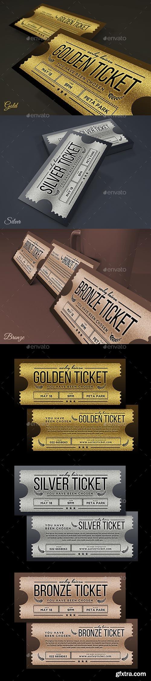 Multipurpose Golden / Silver Ticket Invitation 18200408