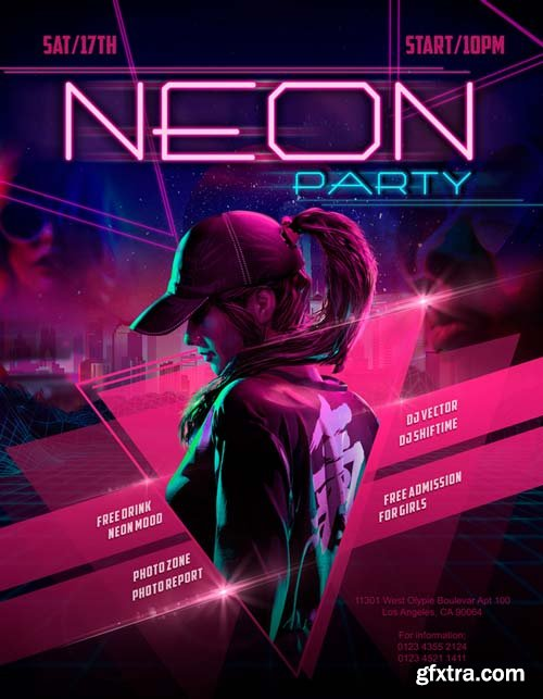 Neon Party V17 2018 Flyer PSD Template