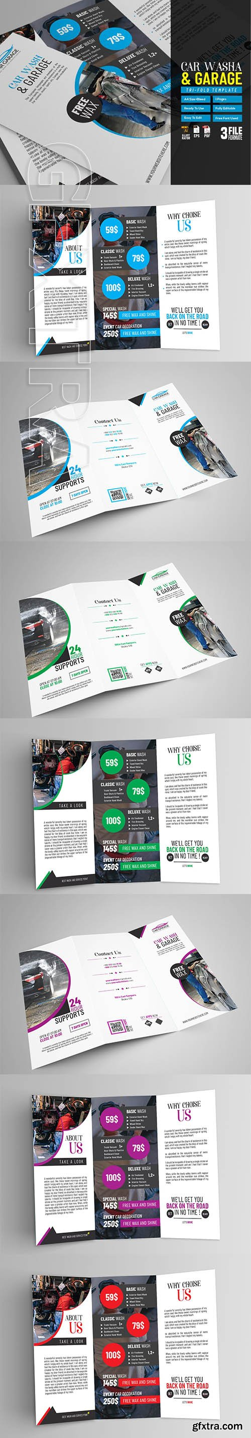 Car Wash Tri Fold Brochure Template