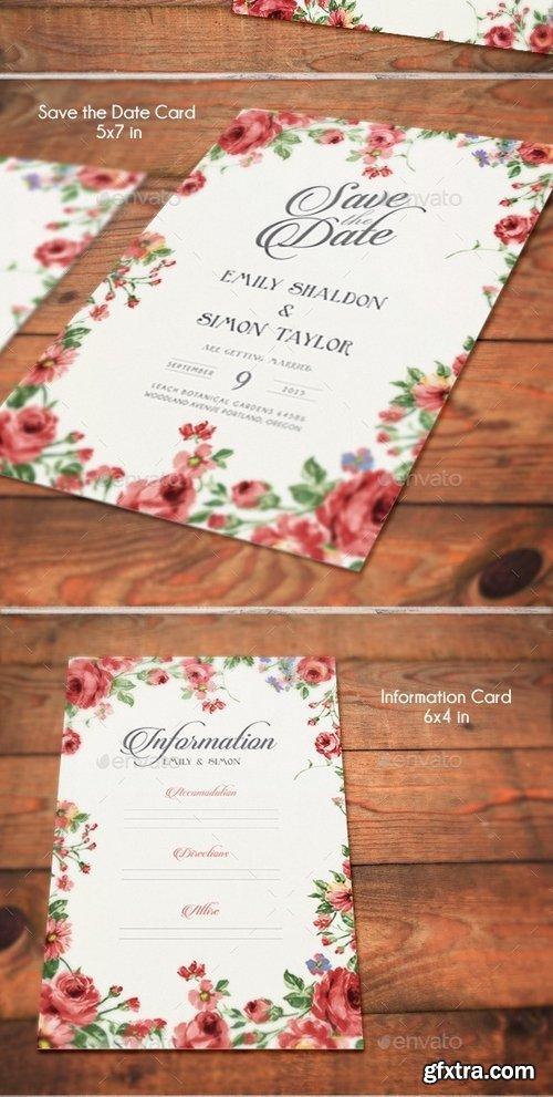 GraphicRiver - Rustic Floral Wedding Invitations 10358801