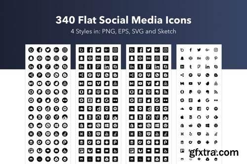 340 Flat Social Media Icons