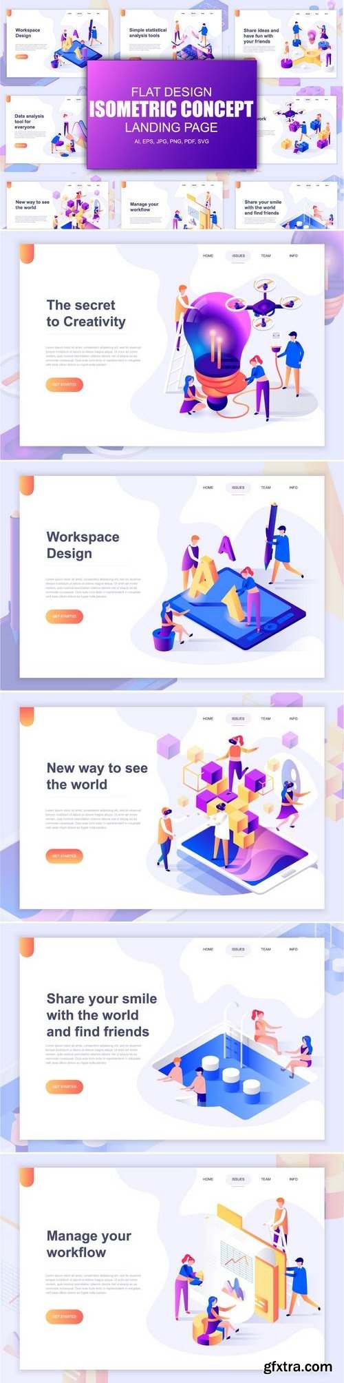 Landing Page Templates Isometric Concept