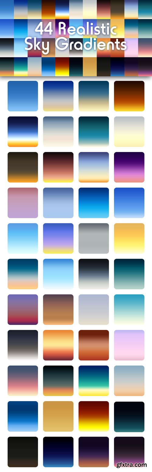 44 Sky Gradients (GRD) For Photoshop
