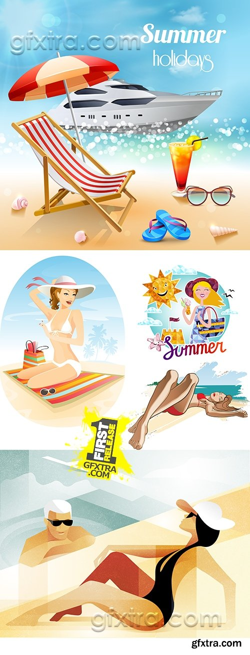 Girls in bikini, children and family summer holiday by sea