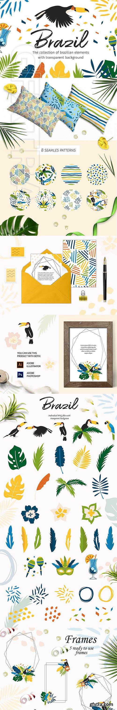 CreativeMarket - Brazil Elements&Patterns+BONUS 2580744