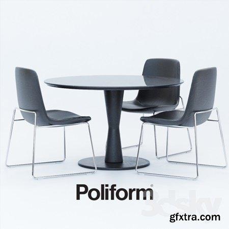 Tables Chairs Poliform Ventura, Flute