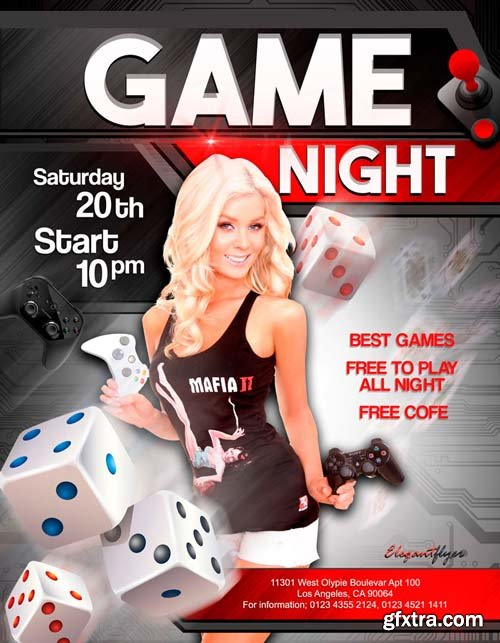 Game night V1 2018 Flyer PSD Template