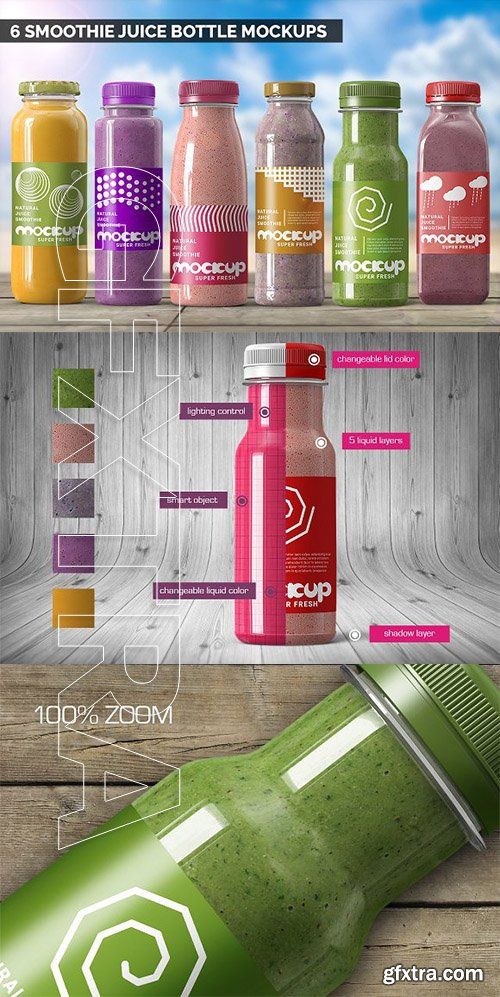 CreativeMarket - Smoothie Juice Bottle Mockups Bundle 2739075