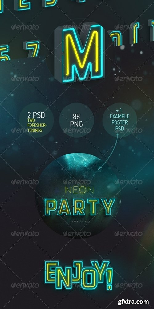 GraphicRiver - Neon Typeface (3 PSD, 88 PNG) 7789963