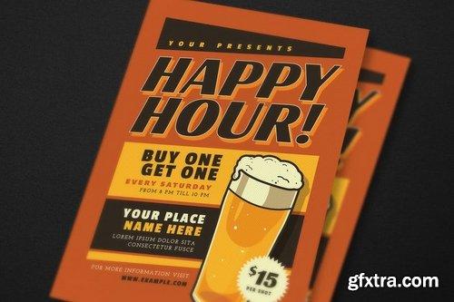 Retro Happy Hour Beer Event Flyer