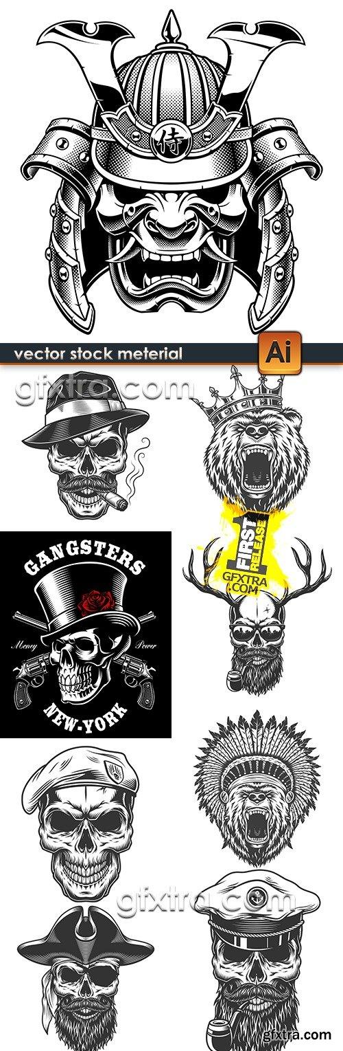 Skull pirate and accessories emblem sketch tattoo