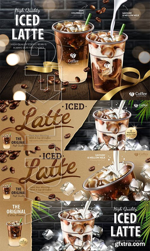 Iced latte ads in 3d vector illustration