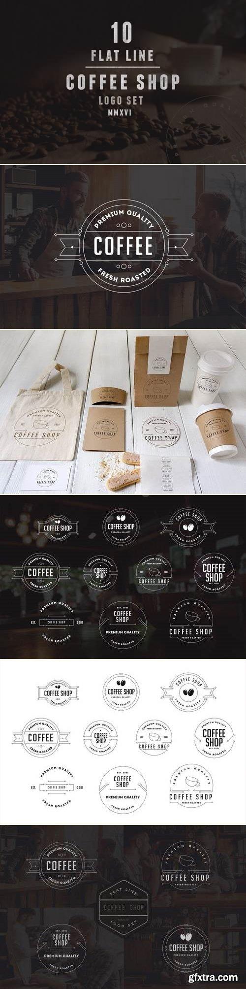 Coffee Shop Line Logo Template
