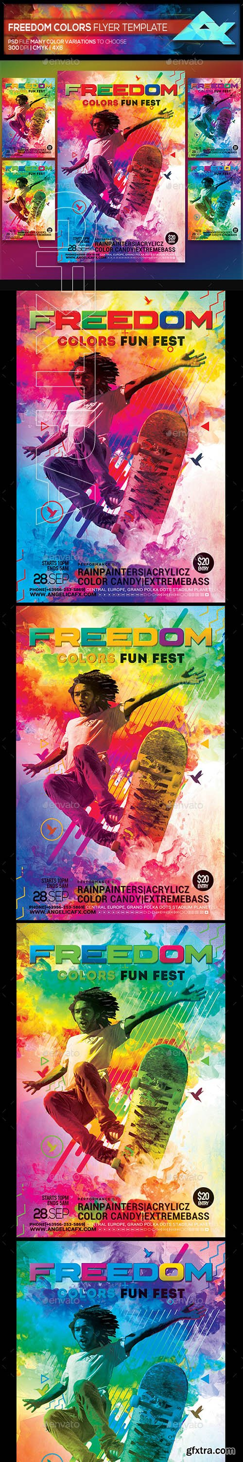 GraphicRiver - Freedom Colors Fun Fest Photoshop Flyer Template 22356183