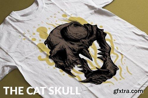 The Cat Skull T-Shirt Design Template