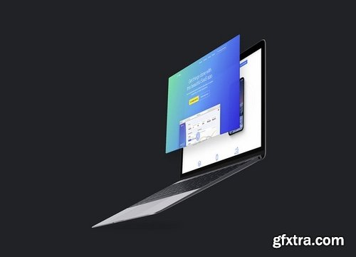 Flying MacBook Mockup 10