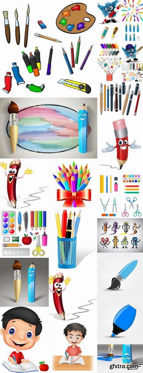 Back to school pencil writing pen school theme flyer banner 25 EPS