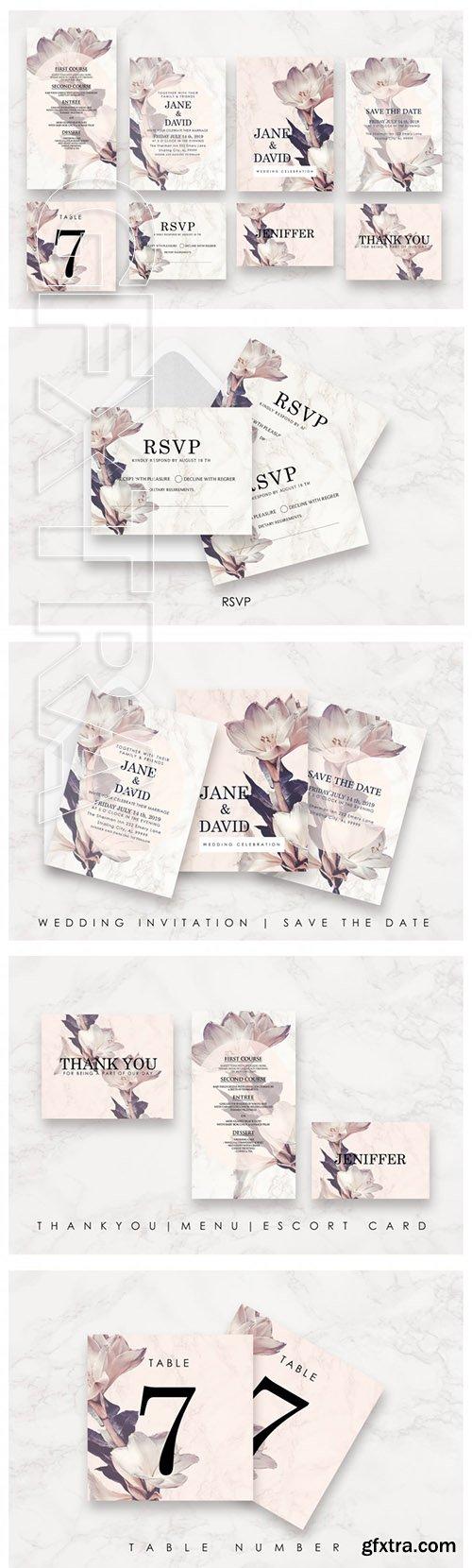 Flower & Marble Invitation Suite