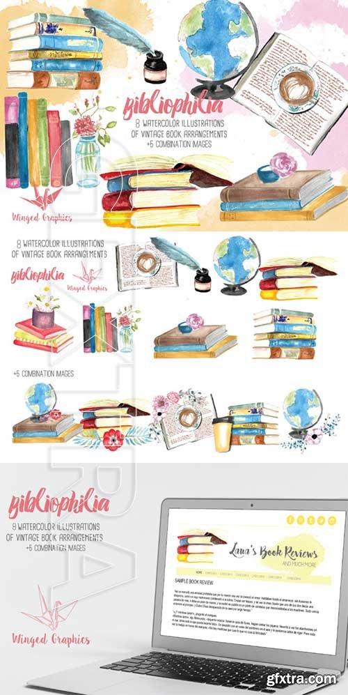 Watercolor book illustration set