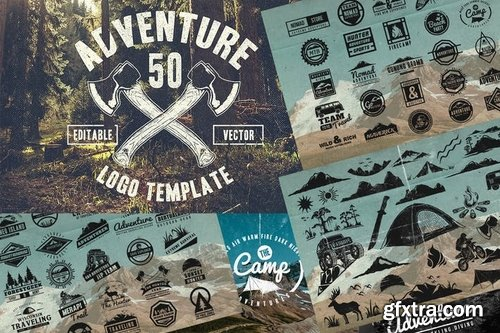 50 Vintage Adventure Outdoor Badges & Logos