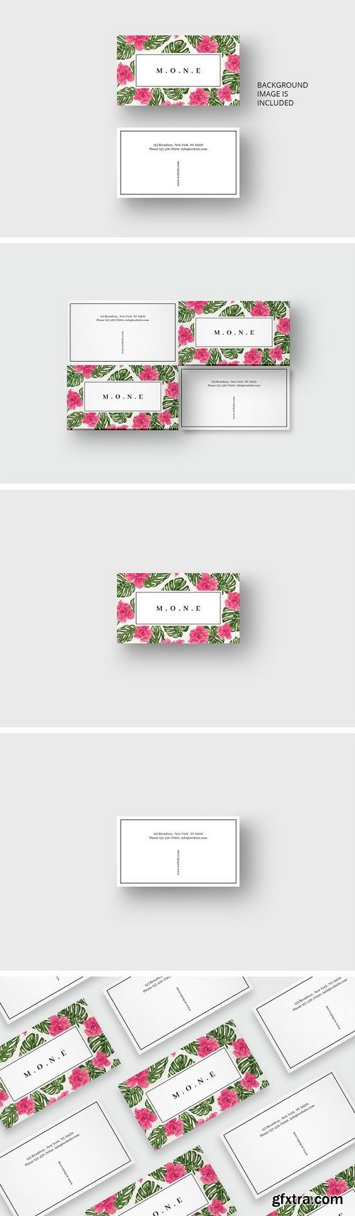 CM - Pink flowers business card template 1697629