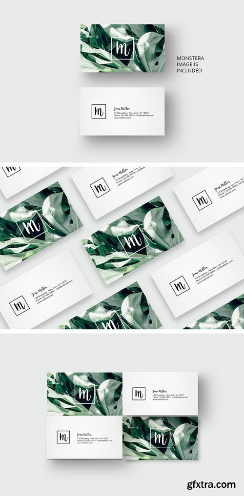 CM - Business card template with monstera 1677870