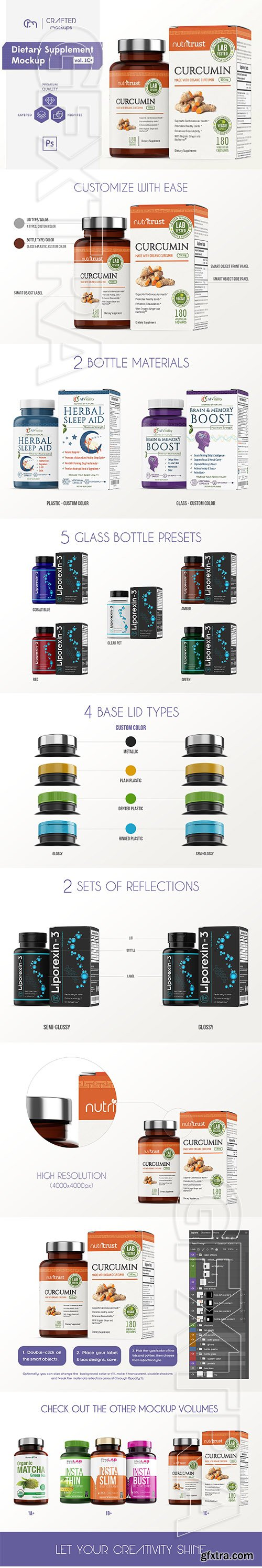 CreativeMarket - Dietary Supplement Mockup v 1C Plus 2735302
