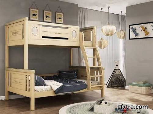 Modern Wood Children's Bed Chandelier Decorative Painting Combination 3D Model