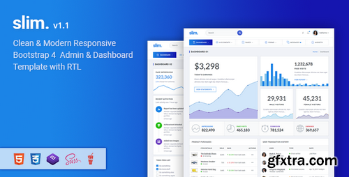 ThemeForest - Slim v1.1 - Modern & Clean Responsive Bootstrap 4 Admin Dashboard Template - 21596728