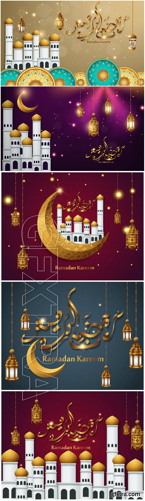Ramadan Kareem vector calligraphy design with decorative floral pattern, mosque silhouette, crescent and glittering islamic background # 59