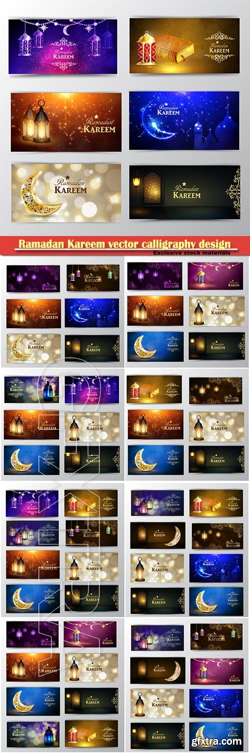 Ramadan Kareem vector calligraphy design with decorative floral pattern, mosque silhouette, crescent and glittering islamic background # 64