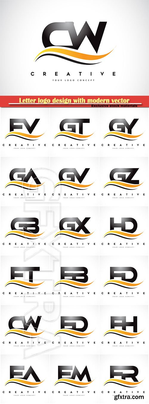 Letter logo design with modern vector illustration