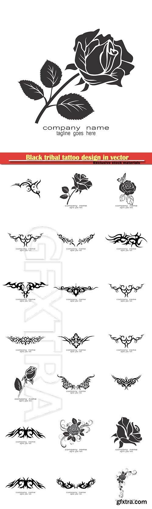 Black tribal tattoo design in vector illustration