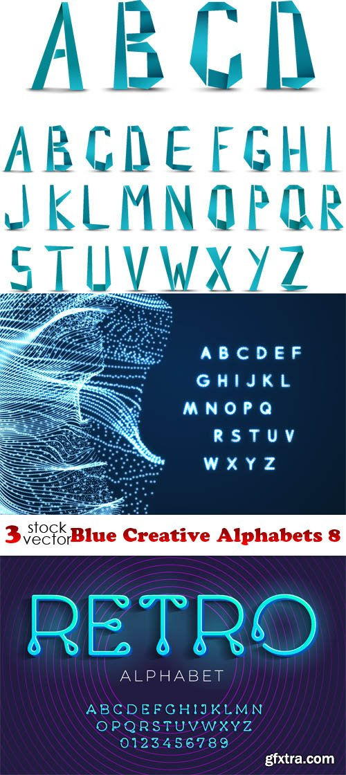 Vectors - Blue Creative Alphabets 8