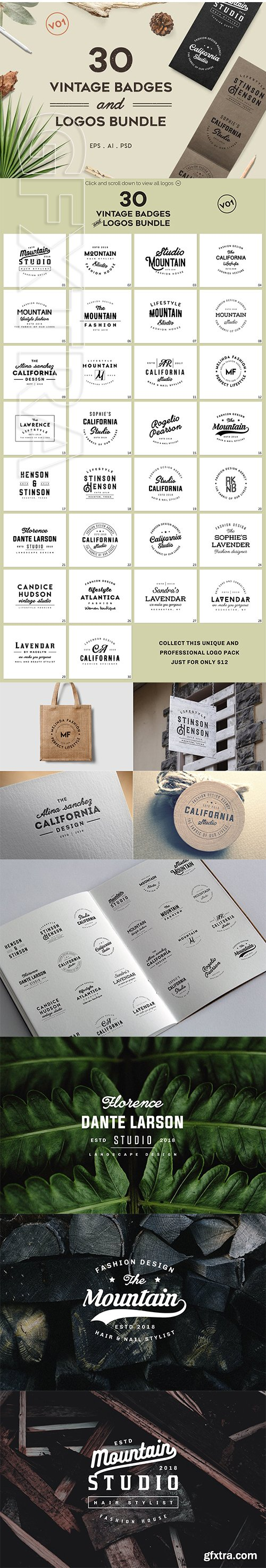 CreativeMarket - Vintage Badges and Logos Bundle V01 2838047