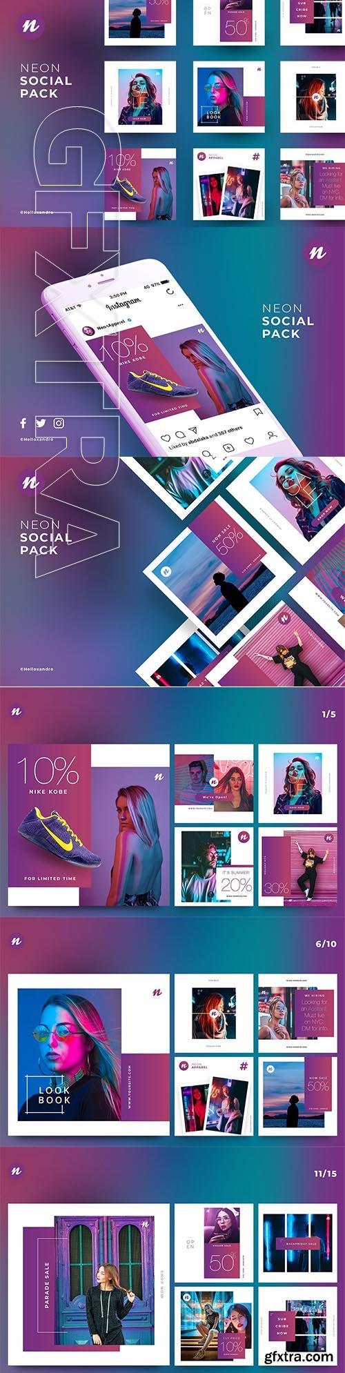 CreativeMarket - Neon - Social Pack 2845743