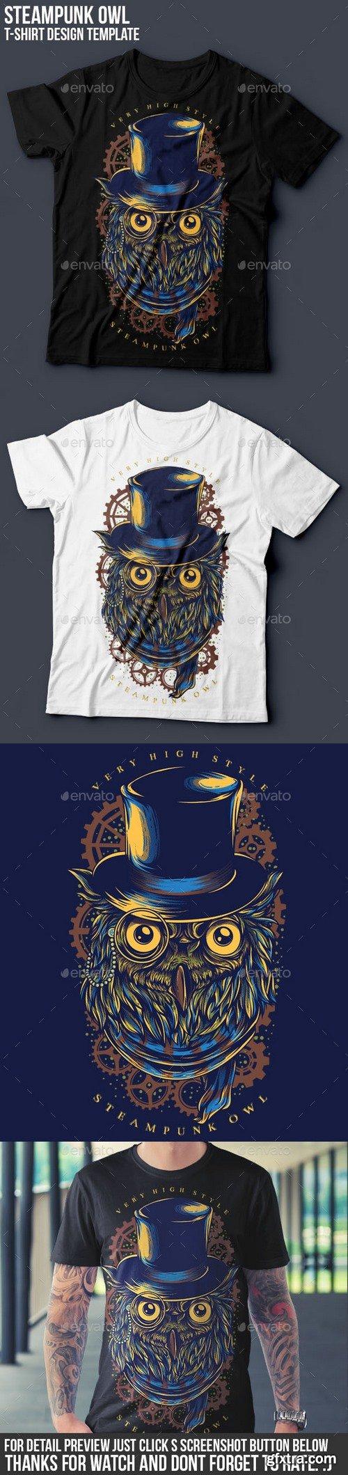 Graphicriver - Steampunk Owl T-Shirt Design 16048272