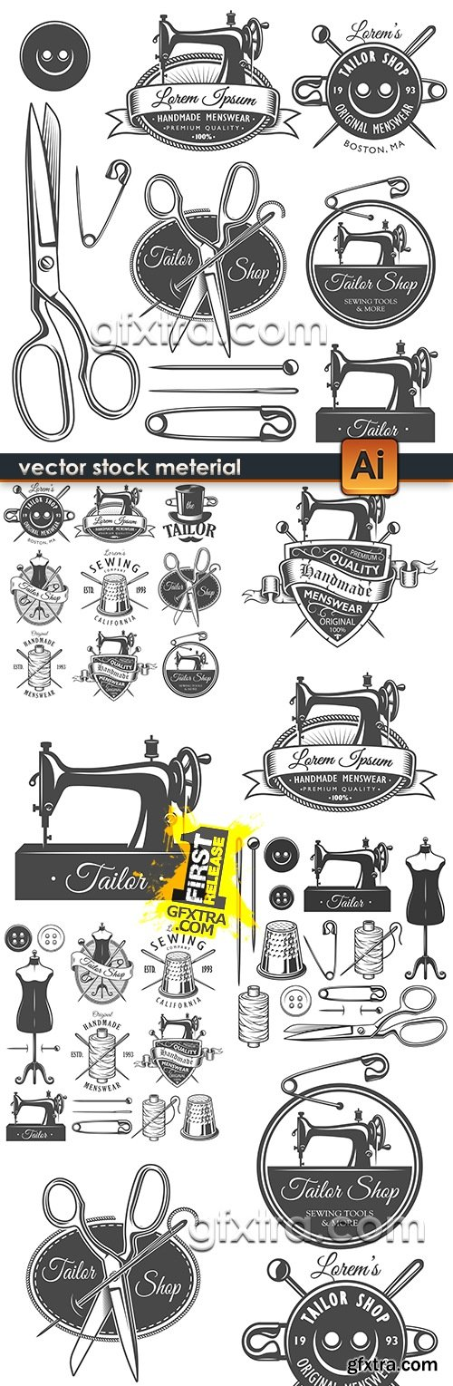 Sewing and tailor\'s accessories design emblem vintage