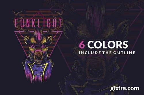 Funk Light T-Shirt Design Template