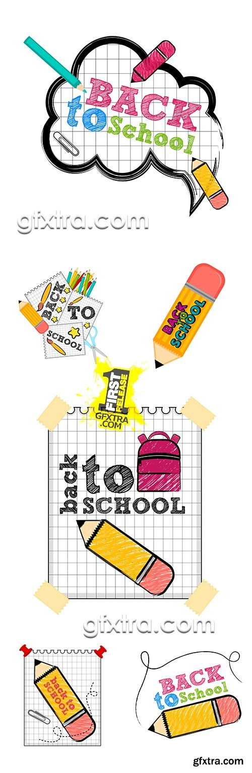 Back to school vector drawing collection illustrations 13