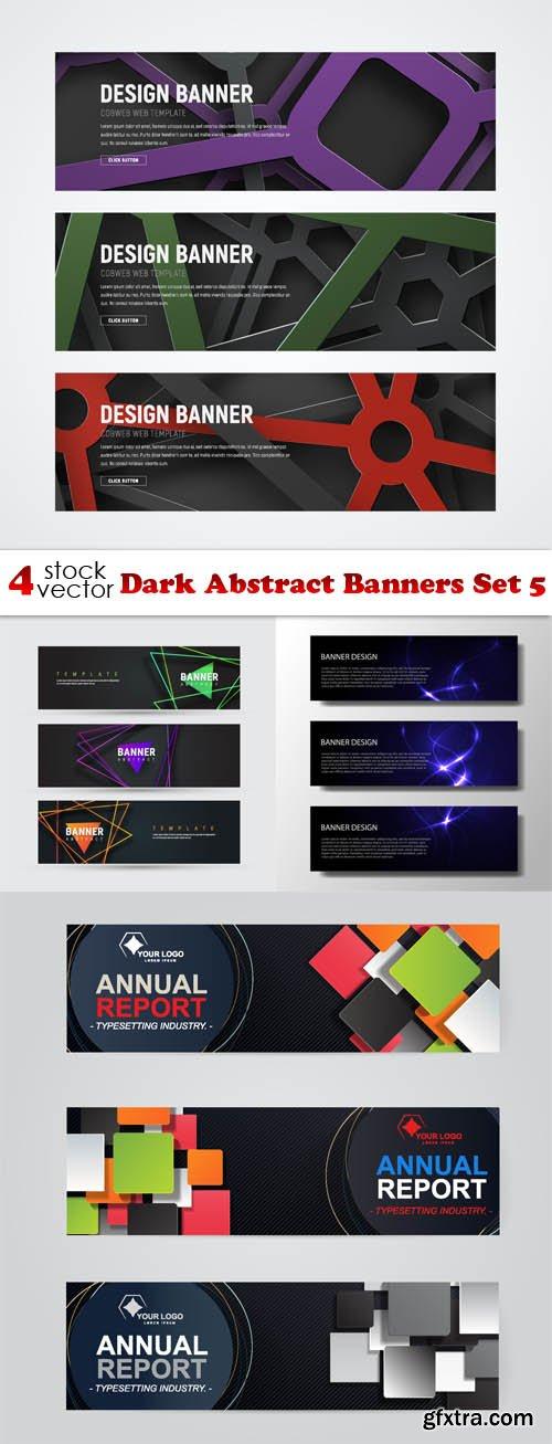 Vectors - Dark Abstract Banners Set 5
