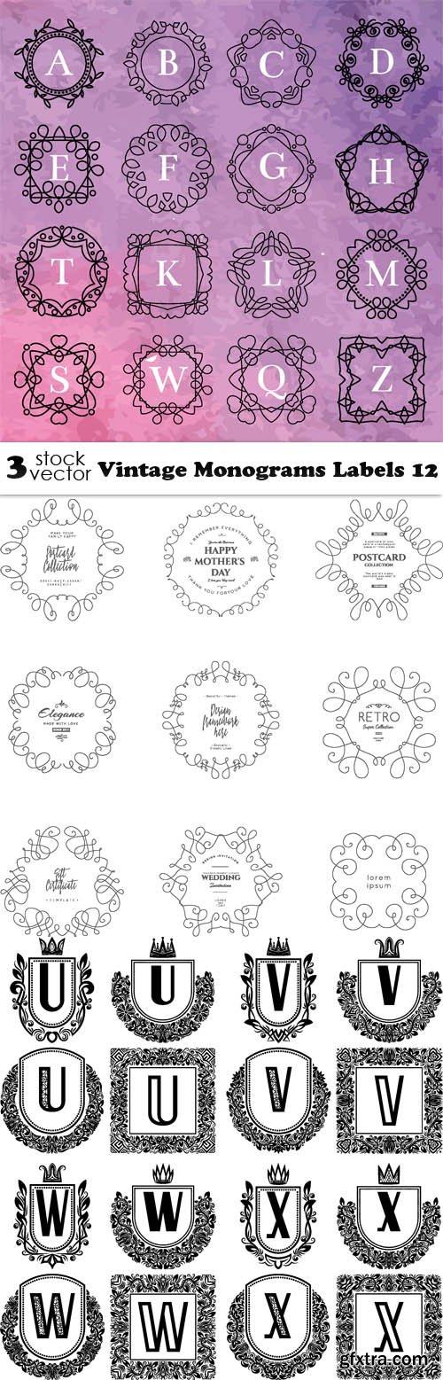 Vectors - Vintage Monograms Labels 12