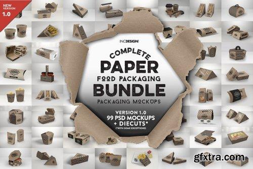 CreativeMarket Paper Food Packaging Mockup Bundle 2513245