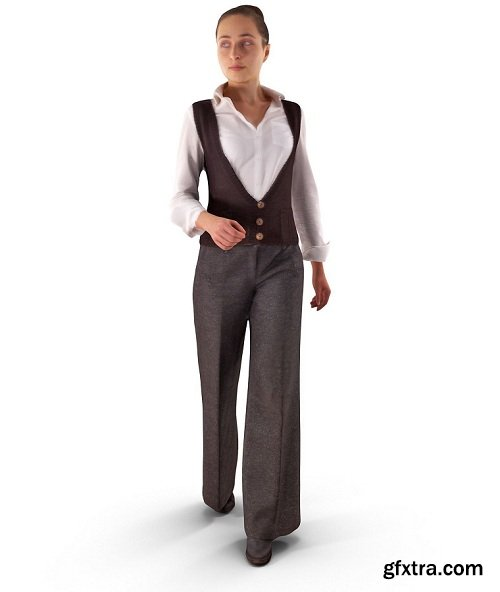 Casual Woman Walking VR / AR / 3D model