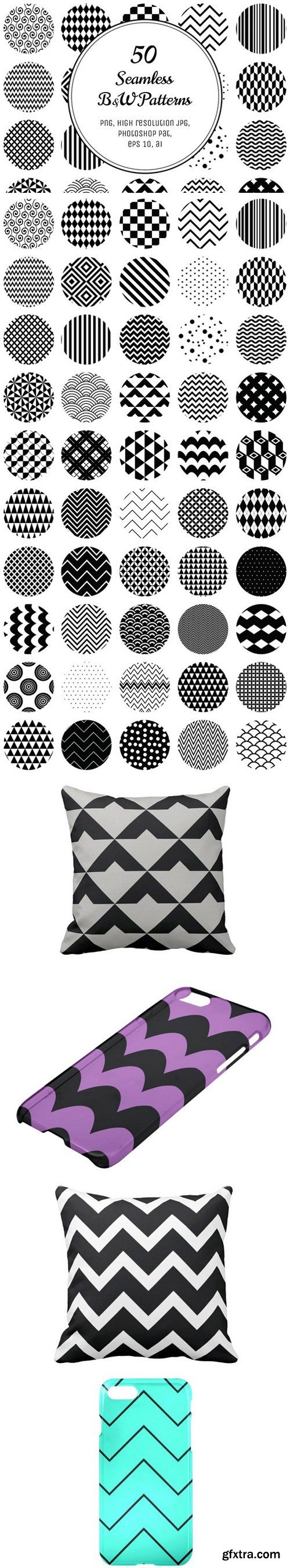 CM - 50 Geometric B&W Patterns 70325